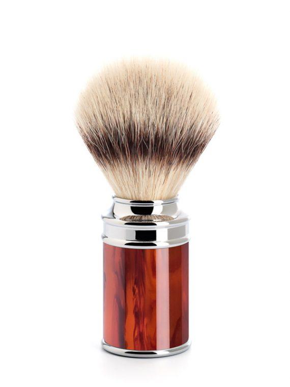 Scheerkwast Silvertip Fibre® - Maat M - Safety Razor - in klassiek rood notenhout verkrijgbaar via de scheerkist